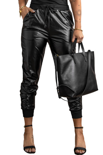 Rock and Roll Faux Leather Joggers LC71003-2