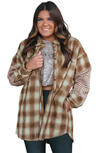 Brown Oversize Plaid Flannel Shacket LC8511022-17