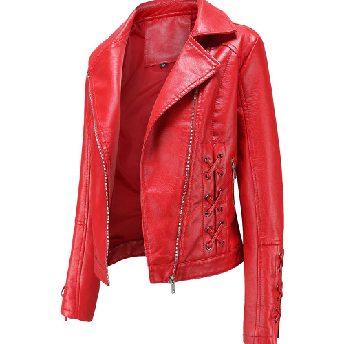 Red Zipper & Bandage PU Leather Jacket TQK280142-3