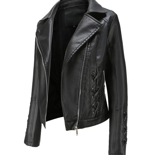 Black Zipper & Bandage PU Leather Jacket TQK280142-2