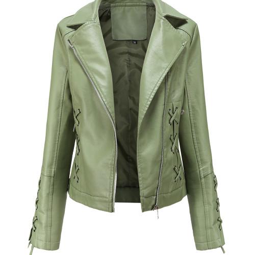 Light Green Zipper & Bandage PU Leather Jacket TQK280142-28