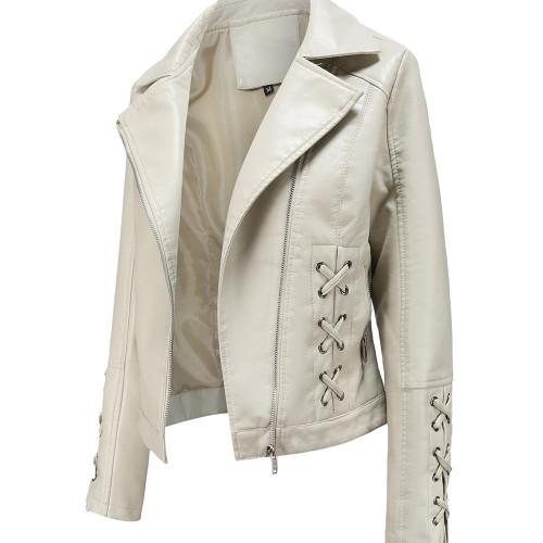 Beige Zipper & Bandage PU Leather Jacket TQK280142-46