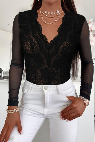 Black Long Sleeve Lace V Neck Mesh Bodysuit LC32868-2