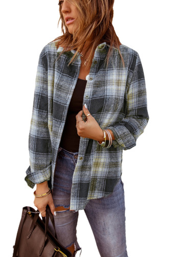 Gray Oversize Rounded Hem Plaid Shirt with Slits LC2551821-11