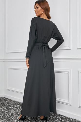 Black V Neck Batwing Sleeve Maxi Dress LC616128-2