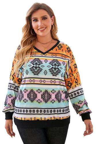 Multicolor V Neck Drop-Shoulder Sleeve Aztec Print Plus Size Top LC2518333-22