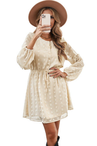 Beige Swiss Dot Buttoned Drawstring Long Puff Sleeve Shirt Dress LC228379-15