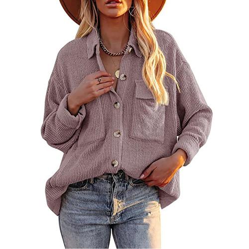 Solid Light Purple Corduroy Button Shirt With Pocket TQK220081-38
