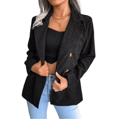 Black Corduroy Double Breasted Blazer TQK260048-2