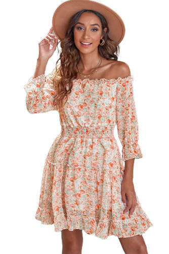 Multicolor Off The Shoulder Elastic Waist Ruffled Floral Dress LC228995-22