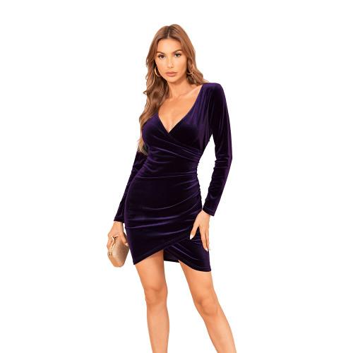 Purple V Neck Irregular Velvet Bodycon Dress TQK310713-8