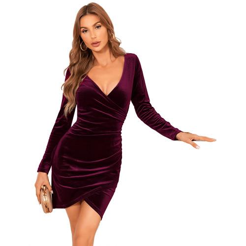 Wine Red V Neck Irregular Velvet Bodycon Dress TQK310713-23