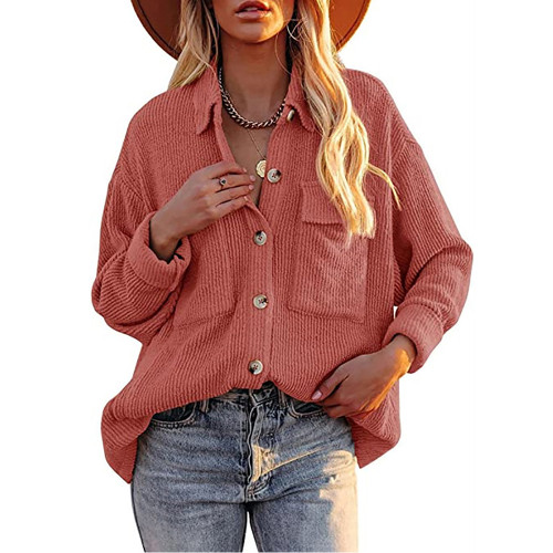 Solid Watermelon Red Corduroy Button Shirt With Pocket TQK220081-63