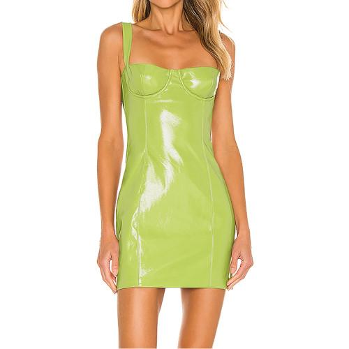 Fluorescent Green PU Patent Leather Sling Mini Dress TQK310711-57