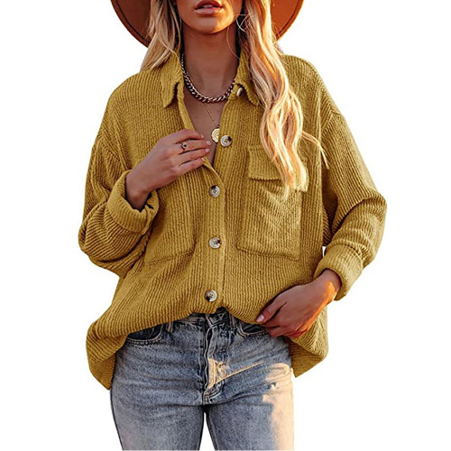 Solid Yellow Corduroy Button Shirt With Pocket TQK220081-7