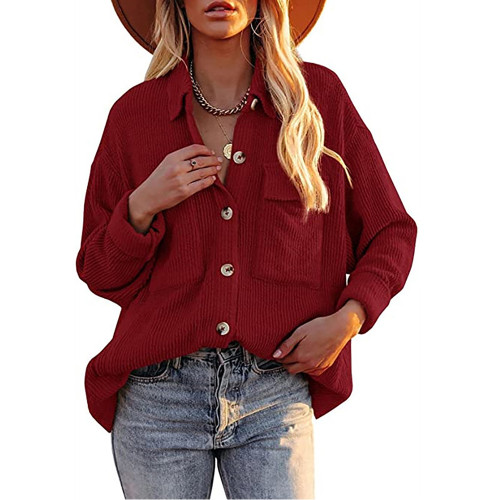 Solid Red Corduroy Button Shirt With Pocket TQK220081-3