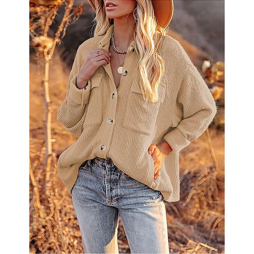 Solid Khaki Corduroy Button Shirt With Pocket TQK220081-21