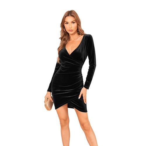 Black V Neck Irregular Velvet Bodycon Dress TQK310713-2