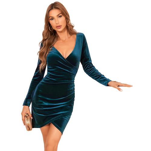 Cyan V Neck Irregular Velvet Bodycon Dress TQK310713-68