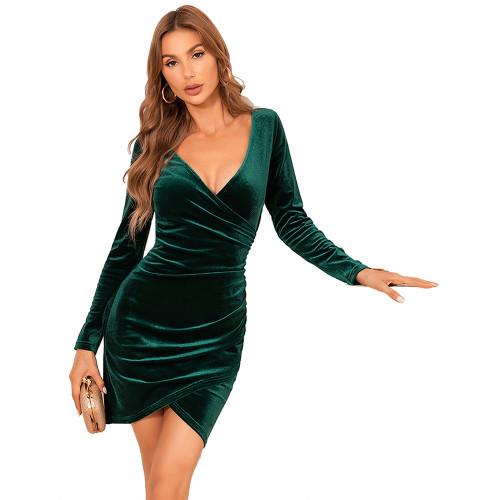 Dark Green V Neck Irregular Velvet Bodycon Dress TQK310713-36
