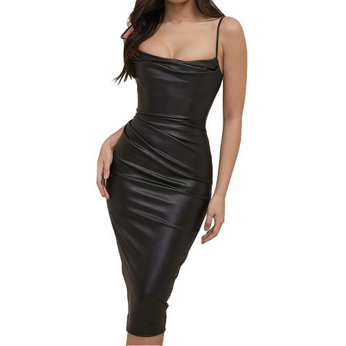 Black Pleated Spaghetti Strap PU Bodycon Dress TQK310712-2
