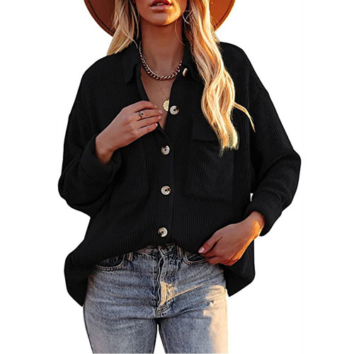 Solid Black Corduroy Button Shirt With Pocket TQK220081-2