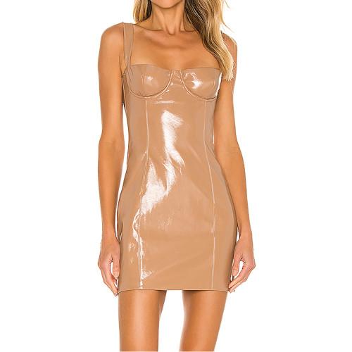 Khaki PU Patent Leather Sling Mini Dress TQK310711-21