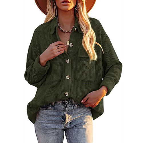 Solid Army Green Corduroy Button Shirt With Pocket TQK220081-27