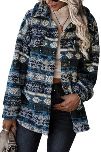 Blue Tribal Print Pocket Buttoned Sherpa Jacket LC8511800-5