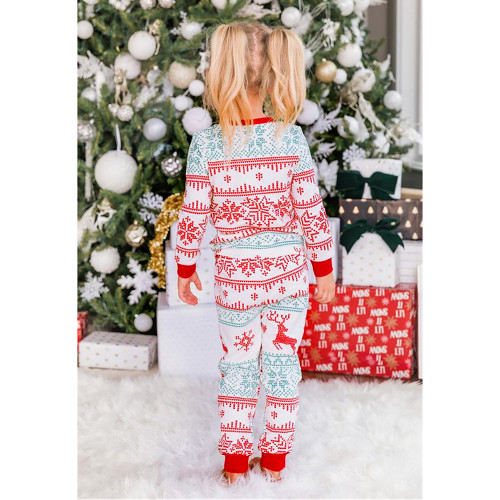 Light Green Contrast Red Christmas Kids Loungewear TQK730419-28
