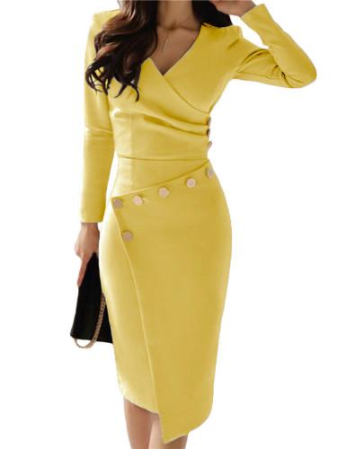 Asymmetric Button Detail Cobalt Yellow Ruched Midi Dress LC610942-7