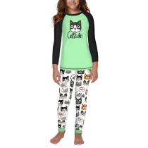 Christmas Cat Print Kids Loungewear TQK730416-7