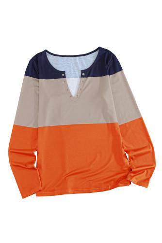 Colorblock Split V Neck Long Sleeve Top LC25111310-14