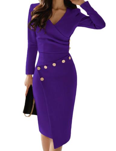 Asymmetric Button Detail Cobalt Purple Ruched Midi Dress LC610942-8