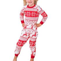 Red Snow Reindeer Christmas Kids Loungewear TQK730417-3