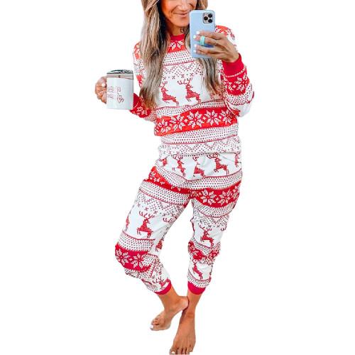 Red Snow Reindeer Christmas Mom Loungewear TQK710417-3