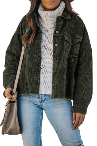 Green Corduroy Pocket Buttoned Jacket LC8511354-9