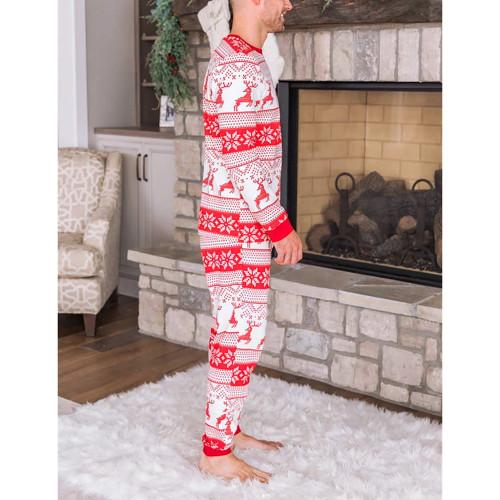 Red Snow Reindeer Christmas Dad Loungewear TQK720417-3