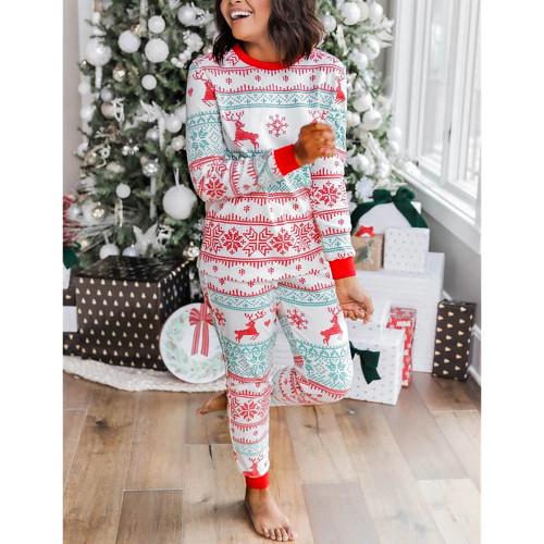 Light Green Contrast Red Christmas Mom Loungewear TQK710419-28