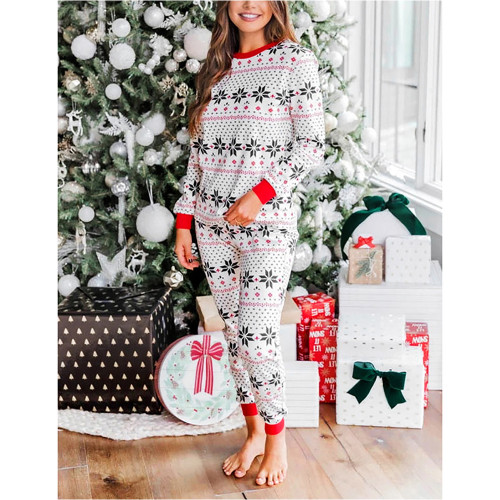 Contrast Black Christmas Mom Loungewear TQK710418-2