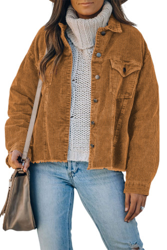 Brown Corduroy Pocket Buttoned Jacket LC8511354-17