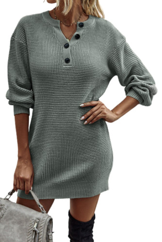 Gray Buttoned Notched Neck Drop Shoulder Waffle Knit Sweater Dress LC2210158-11