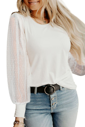 White Round Neck Dotted Lantern Sleeve Top LC2518622-1