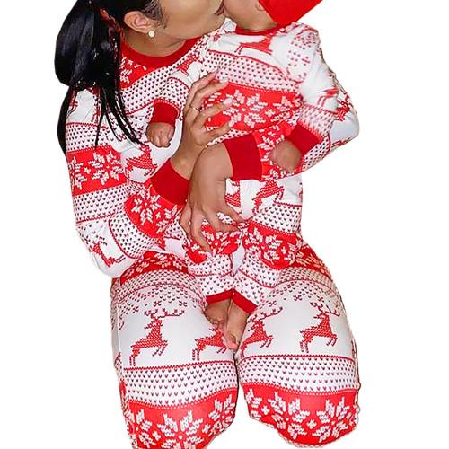 Red Snow Reindeer Christmas Baby Loungewear TQK740417-3