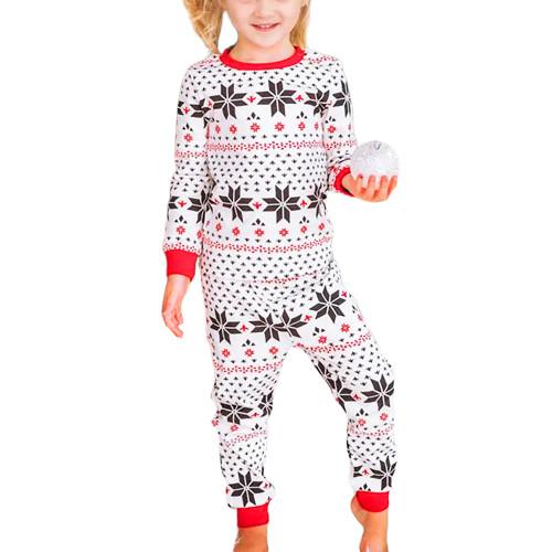 Contrast Black Christmas Kids Loungewear TQK730418-2