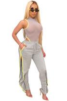Grey Shirred Details Elastic Skinny Flounce Split Stripe Side Pants CYF3544