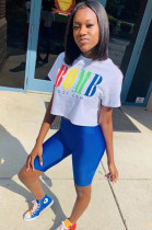 White Casual Polyester Letter Short Sleeve Round Neck Tee Top Capris Pants Sets FM6077