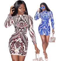 Glitter Sequins Embroidery Elegant Bodycon Dress U7061