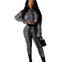 Online Wholesale Black Female Sets Crop Hoodie Tight Pants ML7275