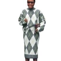 Warm Elegant 2 Pieces Rhomboids Pattern Sweater Skirts Sets MA6292